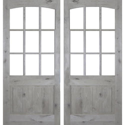 Krosswood Knotty Alder 9 Lite Arch Top Double Door with V-Panel Exterior Doors Krosswood