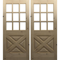 Krosswood Knotty Alder 9 Lite Double Door with X-Panel Exterior Doors Krosswood