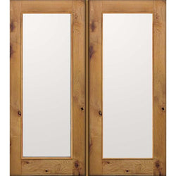 "Krosswood Knotty Alder Full Lite Clear Exterior Double Doors Exterior Doors Krosswood 48"" Wide x 80"" Tall x 1-3/4"" Thick (4'-0"" W x 6'-8"" H)*"