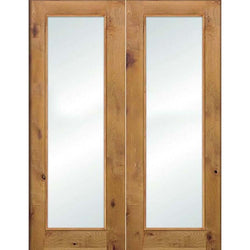 "Krosswood Knotty Alder Full Lite Clear Glass Double Doors Interior Doors Krosswood 48"" Wide x 96"" Tall x 1-3/8"" Thick (4'-0"" W x 8'-0"" H)*"