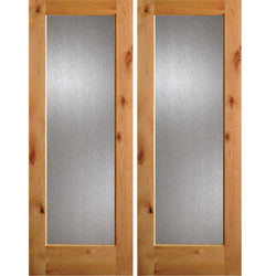 Krosswood Knotty Alder Full Lite Rain Glass Double Doors Interior Doors Krosswood