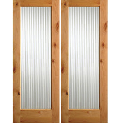 Krosswood Knotty Alder Full Lite Reeded Glass Double Doors Interior Doors Krosswood