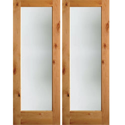 Krosswood Knotty Alder Full Lite Satin Etched Exterior Double Doors Exterior Doors Krosswood