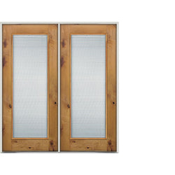 "Krosswood Knotty Alder Full Lite With Clear Tempered Glass Interior Double Doors Interior Doors Krosswood 60"" Wide x 80"" Tall x 1-3/4"" Thick (5'-0"" W x 6'-8"" H)"