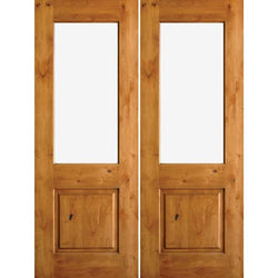 "Krosswood Knotty Alder Half Lite Clear Glass Double Doors Exterior Doors Krosswood 64"" Wide x 80"" Tall x 1-3/4"" Thick (5'-4"" W x 6'-8"" H)*"