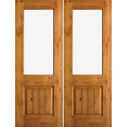 "Krosswood Knotty Alder Half Lite Clear Glass Double Doors with V-Grooves Exterior Doors Krosswood 64"" Wide x 80"" Tall x 1-3/4"" Thick (5'-4"" W x 6'-8"" H)*"