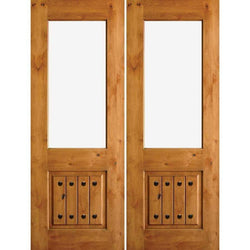 "Krosswood Knotty Alder Half Lite Open Rim Double Doors with V-Grooves and Clavos Exterior Doors Krosswood 64"" Wide x 96"" Tall x 1-3/4"" Thick (5'-4"" W x 8'-0"" H)*"