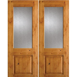 Krosswood Knotty Alder Half Lite Rain Glass Double Doors Exterior Doors Krosswood