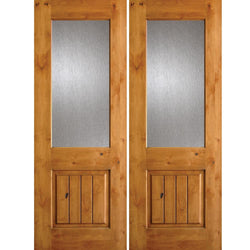 Krosswood Knotty Alder Half Lite Rain Glass Double Doors with V-Grooves Exterior Doors Krosswood