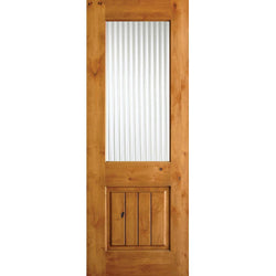 Krosswood Knotty Alder Half Lite Reeded Glass Door w/V-Grooves Exterior Doors Krosswood