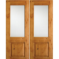 Krosswood Knotty Alder Half Lite Reeded Glass Double Doors Exterior Doors Krosswood
