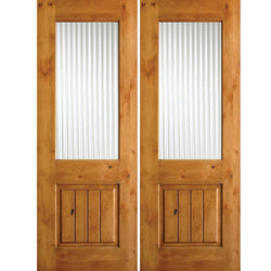 Krosswood Knotty Alder Half Lite Reeded Glass Double Doors with V-Grooves Exterior Doors Krosswood