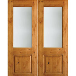 Krosswood Knotty Alder Half Lite Satin Etched Glass Double Doors Exterior Doors Krosswood