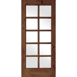 "Krosswood Knotty Alder Int 10 Lite With Tempered Glass Interior Doors Krosswood 24"" Wide x 80"" Tall x 1-3/8"" Thick (2'-0"" W x 6'-8"" H)"