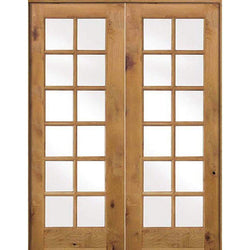 "Krosswood Knotty Alder Int 12 Lite With Tempered Glass French Doors Interior Doors Krosswood 56"" Wide x 96"" Tall x 1-3/8"" Thick (4'-8"" W x 8'-0"" H)*"