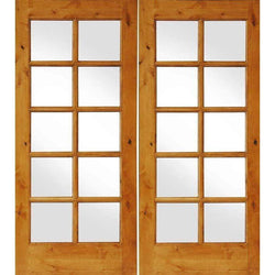 "Krosswood Knotty Alder Interior 10 Lite French Doors Interior Doors Krosswood 48"" Wide x 80"" Tall x 1-3/8"" Thick (4'-0"" W x 6'-8"" H)*"