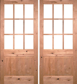 Krosswood Knotty Alder Raised 9-Lite Double Doors w/Clear Beveled Glass Exterior Doors Krosswood