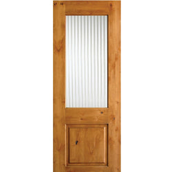 Krosswood Knotty Alder Reeded Glass Half Lite Door Exterior Doors Krosswood