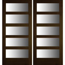 Krosswood Modern 5-Lite Douglas Fir Double Door with Satin Etched Glass Exterior Doors Krosswood
