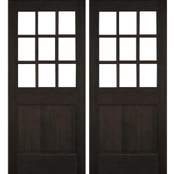 Krosswood Raised Panel 9-Lite Beveled Glass Douglas Fir Double Door Exterior Doors Krosswood