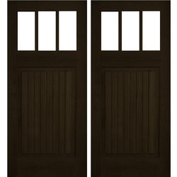 Krosswood Raised V-Groove 3-Lite Beveled Glass Douglas Fir Double Door Exterior Doors Krosswood