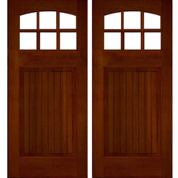 Krosswood Raised V-Groove Panel Arched 6-Lite Douglas Fir Double Door Exterior Doors Krosswood