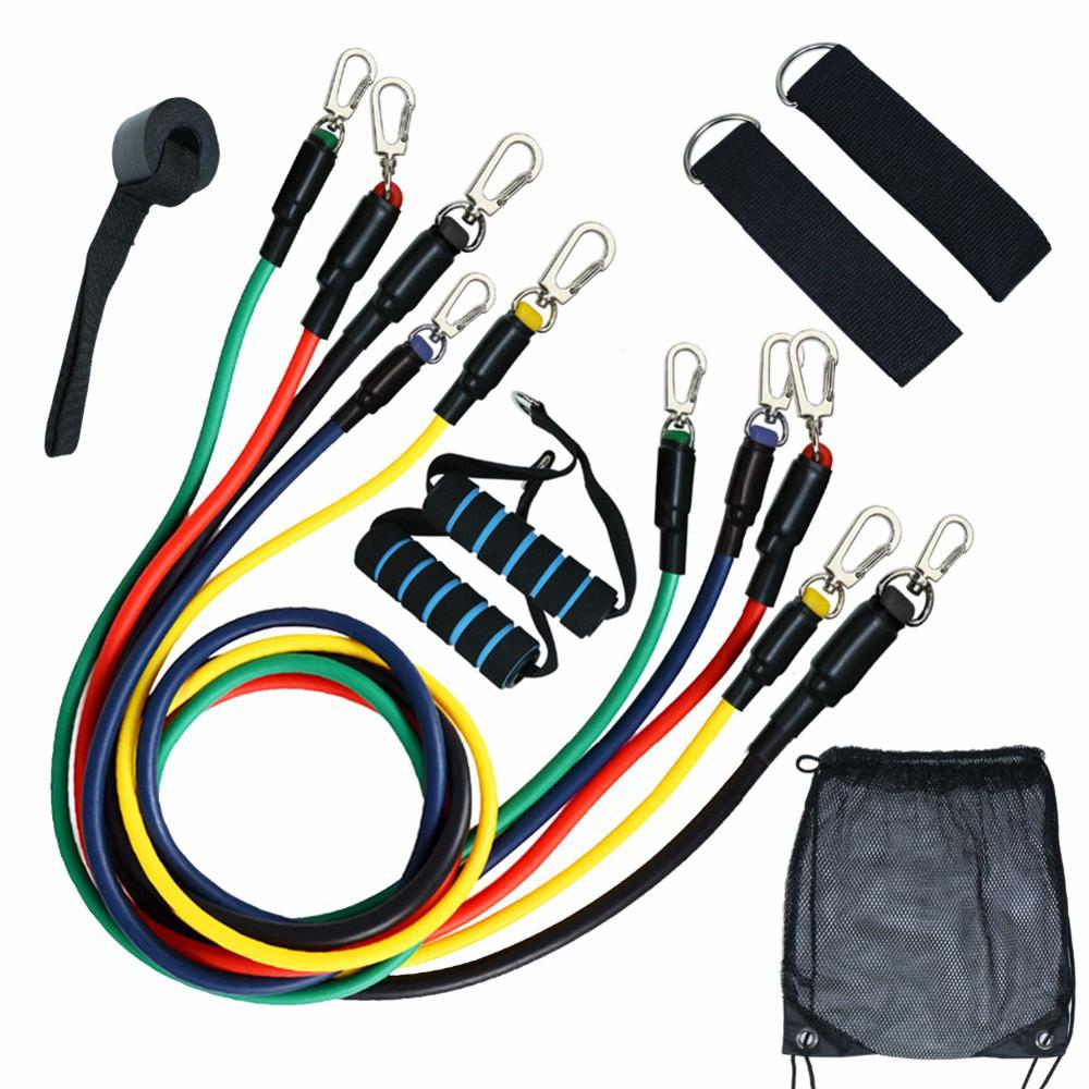 11pcs Resistance Band Set Expander 100 Pound TPE Workout Elastic Rubber Band Home Gym Body Building Fitness Equipment