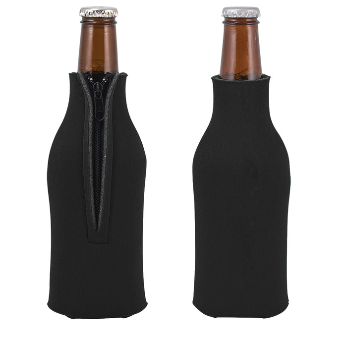 Unsewn Zipper Bottle Coolers Embroidery Blanks - Black