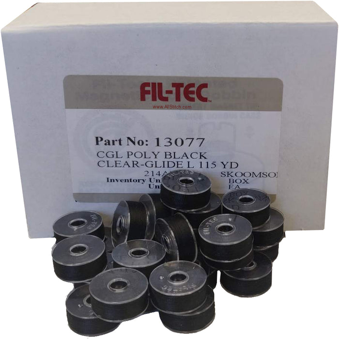 FilTec PArt 13077 CGL Poly Black Clear-Glide 115 YD Embroidery Bobbins