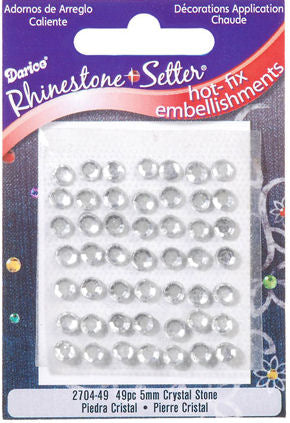 Hot-Fix Glass Rhinestone Embellishments - 5mm Crystal