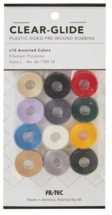 Clear-Glide Plastic Sided Embroidery Bobbins - 12 Assorted Colors Class L