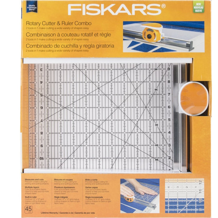 "Fiskars Rotary Cutter and Ruler Combo - Square 12"" x 12"""