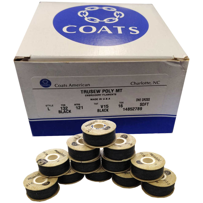 Coats Trusew Poly MT V15 Black Embroidery Bobbins