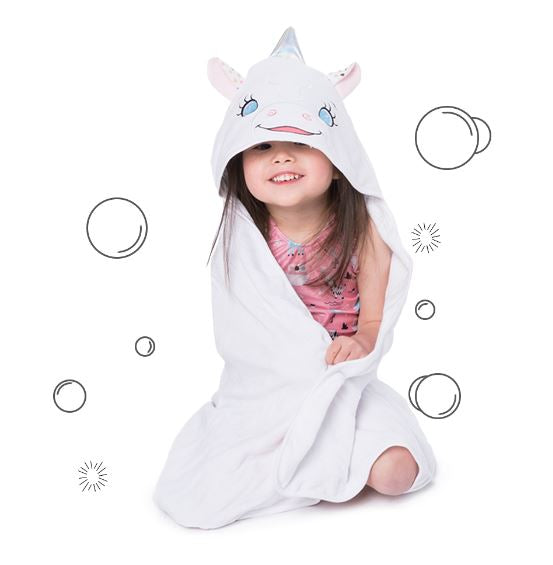 Cubbies Hooded Bath Towel Embroidery Blanks - Aurora Unicorn