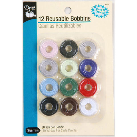 Dritz Item 941: Pre-Filled Class 15 Colored Bobbins - 12 Pieces