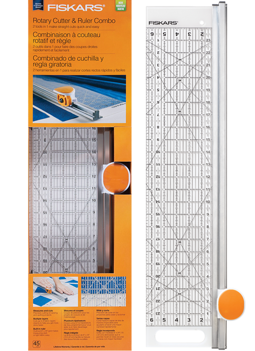 "Fiskars Rotary Cutter and Ruler Combo - Rectangle 6"" x 24"""