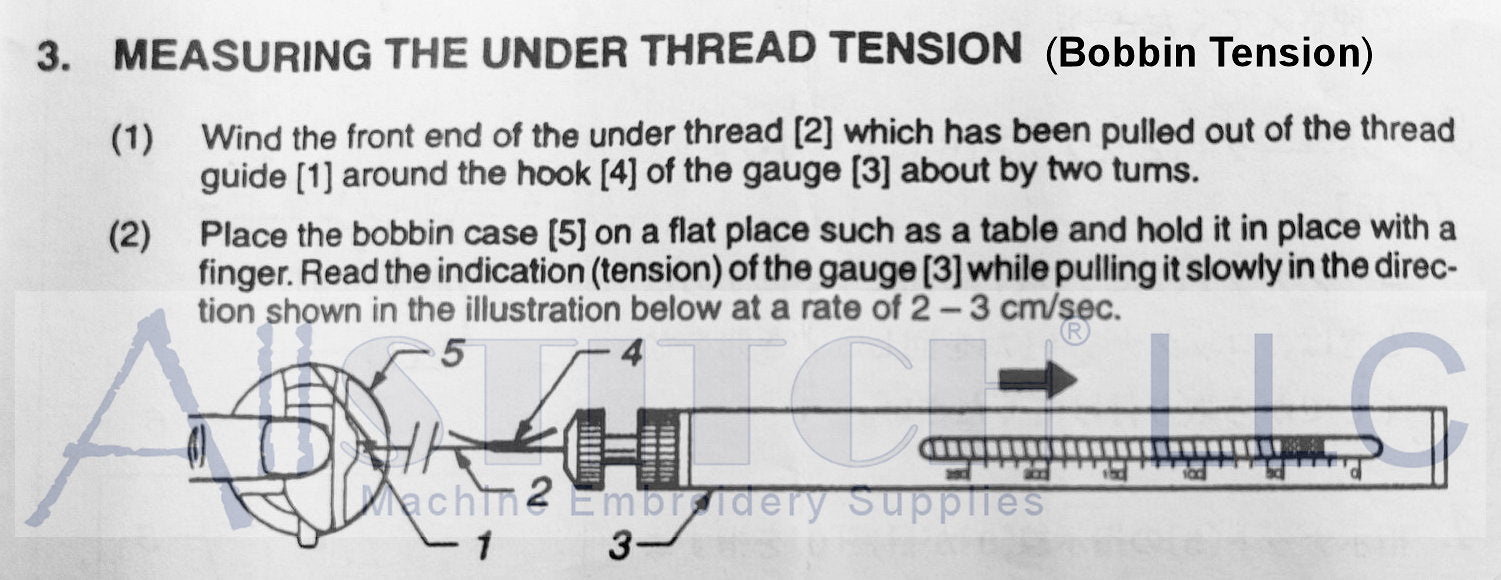 Using Thread Tension Gauge To Measure Bobbin Tension