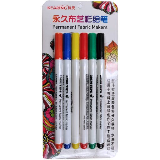Kearing Permanent Fabric Touch-Up Markers - 6 Color Set
