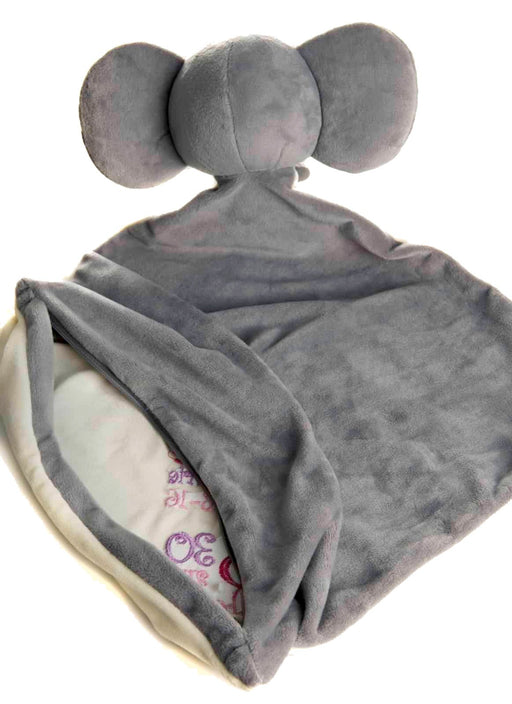 Elephant Embroidery Zipper Blanket