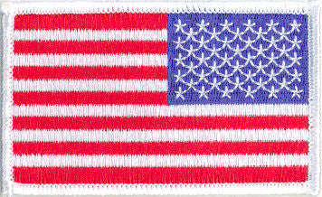 "Embroidered American Flag Patch  -  3-1/2"" x 2-1/8"" Right Shoulder White Border"