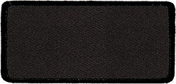 "Rectangle Blank Patch 1-5/8"" x 3-5/8"" Black Background & Black Border"