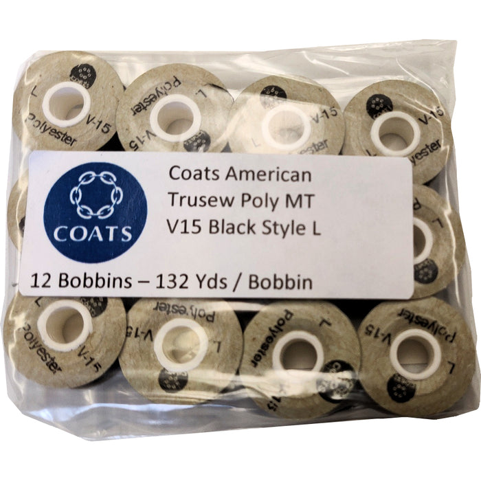 Coats V15 Embroidery Bobbins Size L BLACK