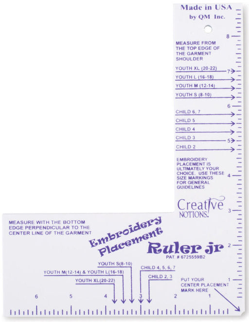Little Buddy Embroidery Placement Ruler JR (CNEPRJR1)