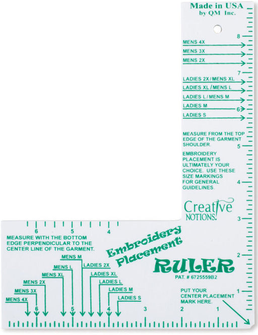 Adult Buddy Embroidery Placement Ruler (CNEPR1)