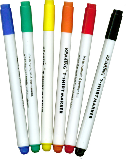Permanent Fabric Touch-Up Markers - 6 Color Set