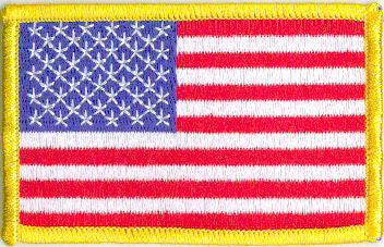 "Embroidered American Flag Patch -  3-1/2"" x 2-1/8"" Left Shoulder w/Gold Border"