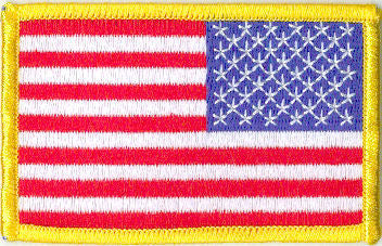"Embroidered American Flag Patch -  3-1/2"" x 2-1/8"" Right Shoulder w/Gold Border"