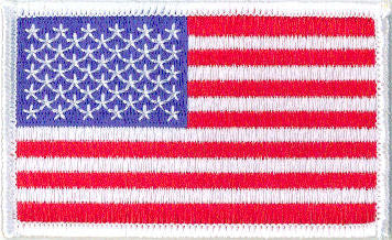 "Embroidered American Flag Patch  -  3-1/2"" x 2-1/8"" Left Shoulder White Border"