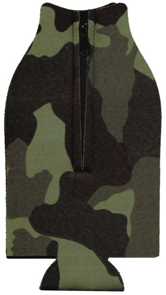 Unsewn Zipper Bottle Coolers Embroidery Blanks - Camouflage