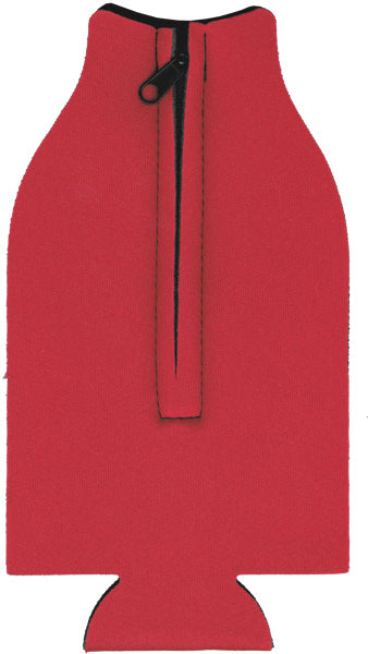 Unsewn Zipper Bottle Coolers Embroidery Blanks - Red